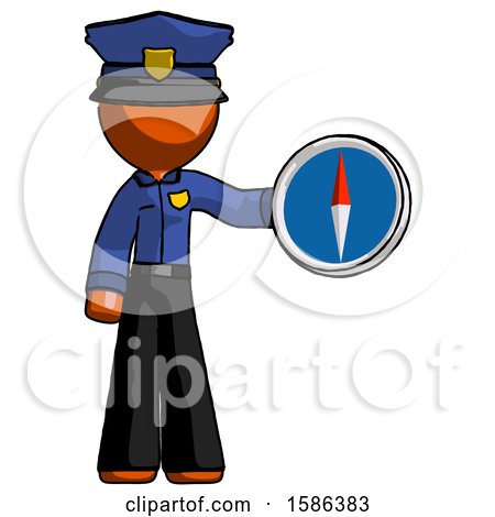 Orange Police Man Holding a Large Compass by Leo Blanchette