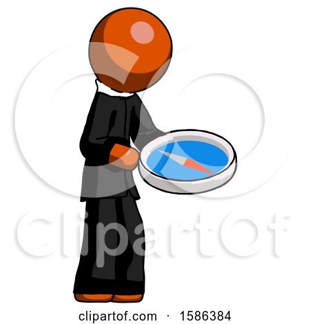 Orange Clergy Man Looking at Large Compass Facing Right by Leo Blanchette