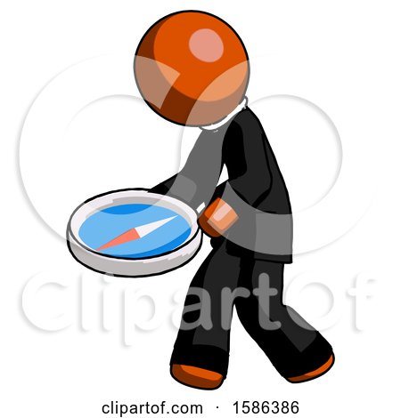 Orange Clergy Man Walking with Large Compass by Leo Blanchette