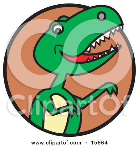 Green T Rex Dinosaur Baring Its Teeth Clipart Illustration by Andy Nortnik