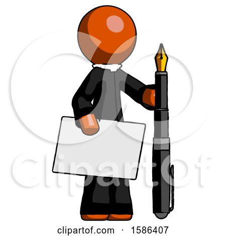 Orange Clergy Man Holding Large Envelope and Calligraphy Pen by Leo Blanchette