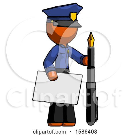 Orange Police Man Holding Large Envelope and Calligraphy Pen by Leo Blanchette
