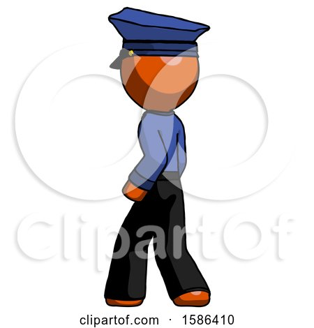 Orange Police Man Walking Away Direction Left View by Leo Blanchette