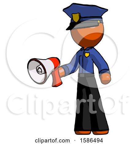 Orange Police Man Holding Megaphone Bullhorn Facing Right by Leo Blanchette