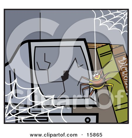 Happy Little Spider Hanging Down From A Web In Front Of A Broken Computer Screen Posters, Art Prints