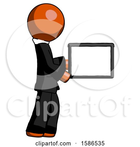 Orange Clergy Man Show Tablet Device Computer to Viewer, Blank Area by Leo Blanchette