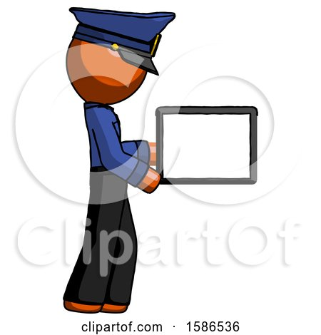 Orange Police Man Show Tablet Device Computer to Viewer, Blank Area by Leo Blanchette