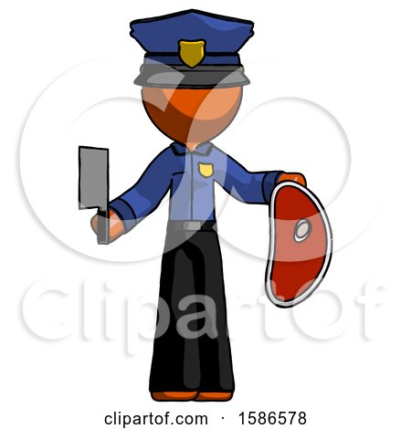 Orange Police Man Holding Large Steak with Butcher Knife by Leo Blanchette