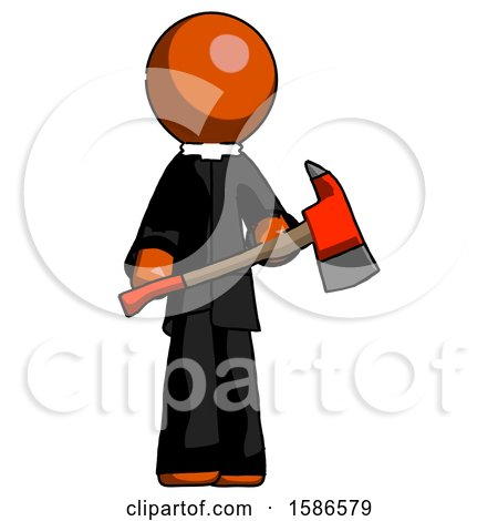 Orange Clergy Man Holding Red Fire Fighter's Ax by Leo Blanchette