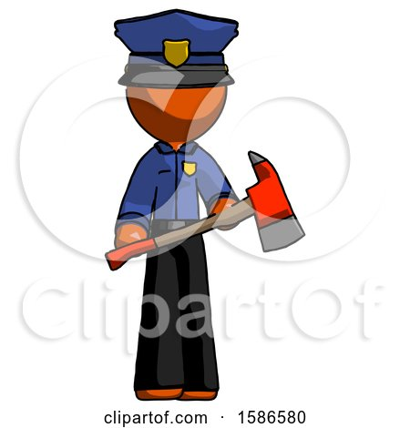 Orange Police Man Holding Red Fire Fighter's Ax by Leo Blanchette