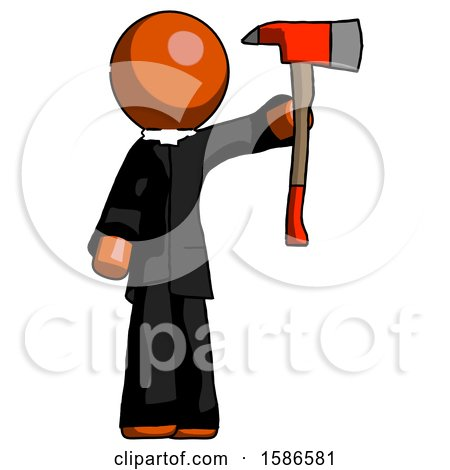 Orange Clergy Man Holding up Red Firefighter's Ax by Leo Blanchette