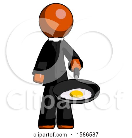 Orange Clergy Man Frying Egg in Pan or Wok by Leo Blanchette