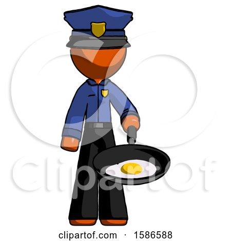 Orange Police Man Frying Egg in Pan or Wok by Leo Blanchette
