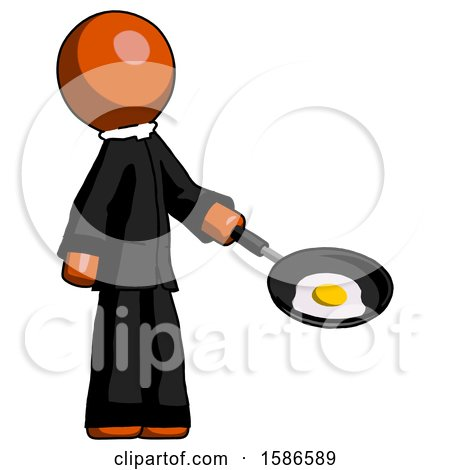 Orange Clergy Man Frying Egg in Pan or Wok Facing Right by Leo Blanchette
