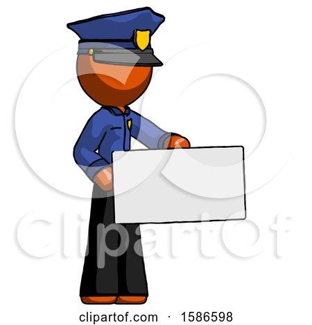 Orange Police Man Presenting Large Envelope by Leo Blanchette