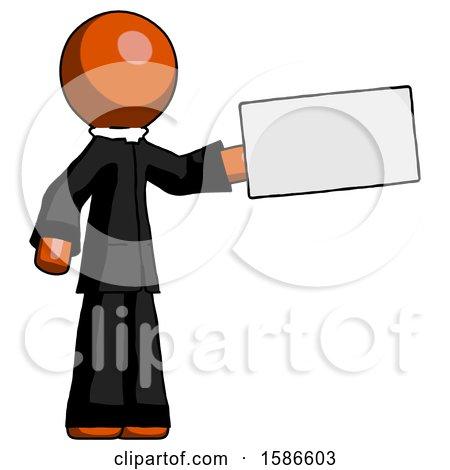 Orange Clergy Man Holding Large Envelope by Leo Blanchette