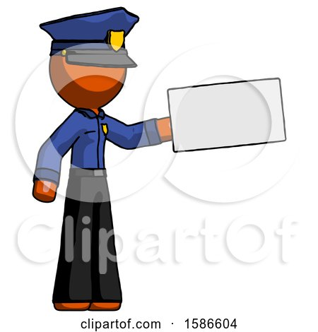Orange Police Man Holding Large Envelope by Leo Blanchette