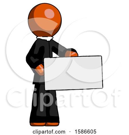 Orange Clergy Man Presenting Large Envelope by Leo Blanchette