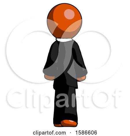 Orange Clergy Man Walking Away, Back View by Leo Blanchette