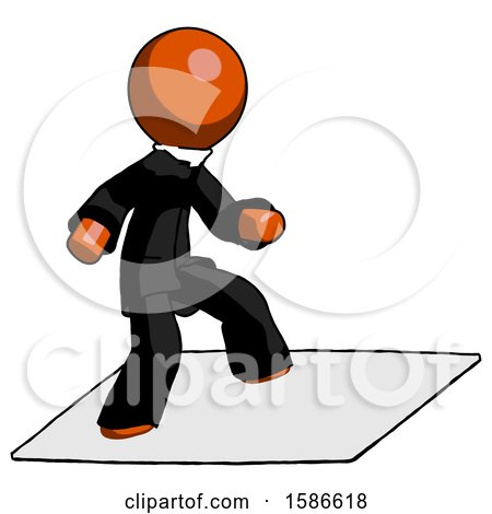 Orange Clergy Man on Postage Envelope Surfing by Leo Blanchette