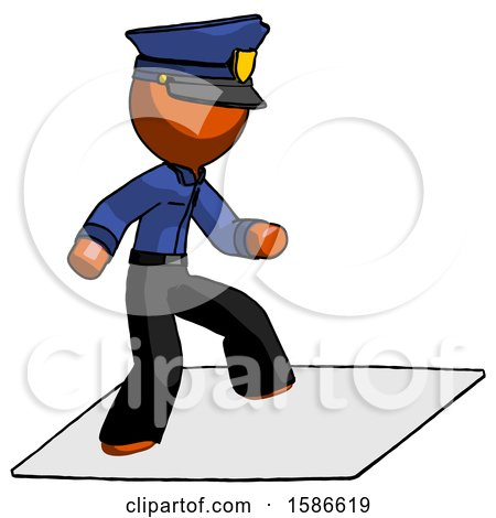 Orange Police Man on Postage Envelope Surfing by Leo Blanchette