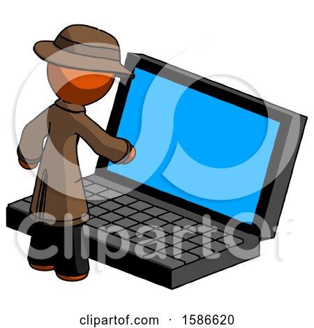 Orange Detective Man Using Large Laptop Computer by Leo Blanchette