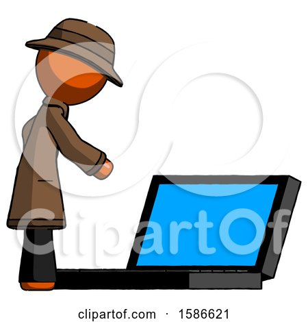 Orange Detective Man Using Large Laptop Computer Side Orthographic View by Leo Blanchette