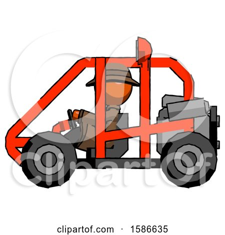 Orange Detective Man Riding Sports Buggy Side View by Leo Blanchette