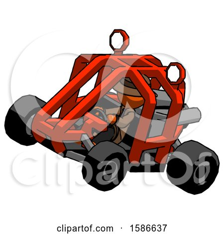 Orange Detective Man Riding Sports Buggy Side Top Angle View by Leo Blanchette