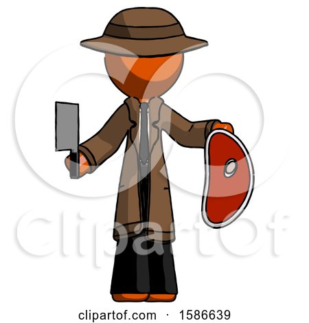 Orange Detective Man Holding Large Steak with Butcher Knife by Leo Blanchette