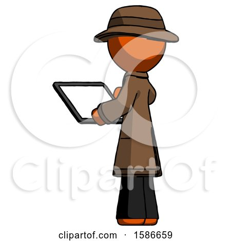 Orange Detective Man Looking at Tablet Device Computer with Back to Viewer by Leo Blanchette