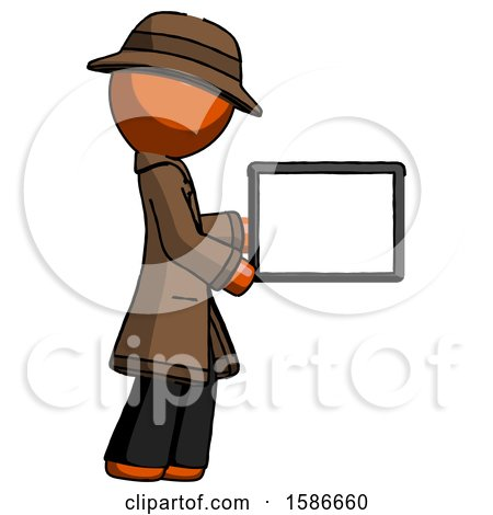 Orange Detective Man Show Tablet Device Computer to Viewer, Blank Area by Leo Blanchette