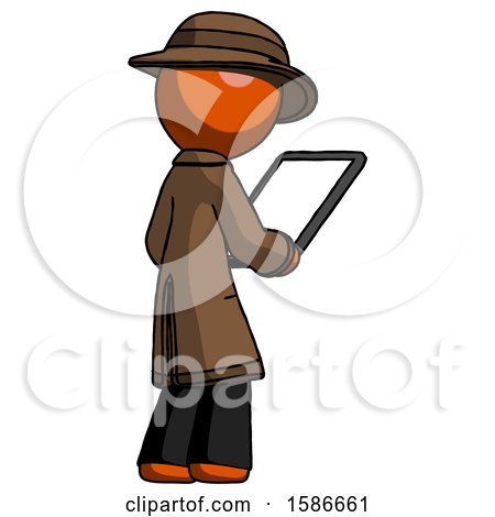 Orange Detective Man Looking at Tablet Device Computer Facing Away by Leo Blanchette