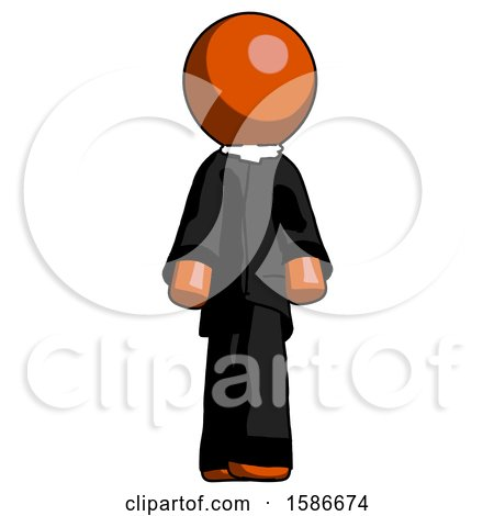 Orange Clergy Man Walking Front View by Leo Blanchette