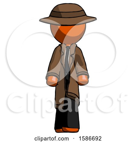 Orange Detective Man Walking Front View by Leo Blanchette