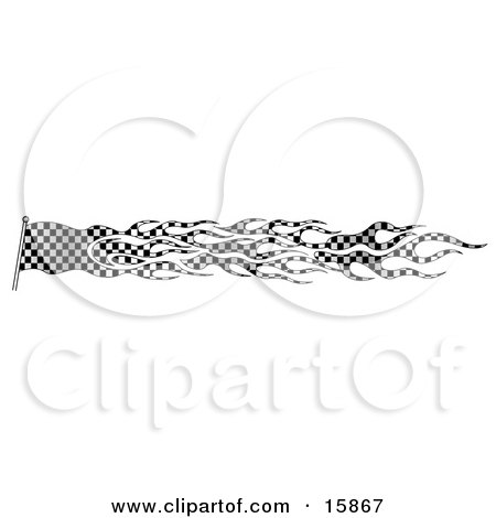 Racing Flag Made Of Checkers In Black And White Clipart Illustration by Andy Nortnik