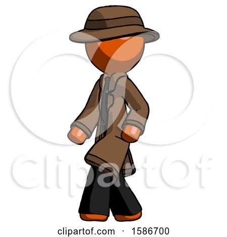 Orange Detective Man Man Walking Turned Left Front View by Leo Blanchette