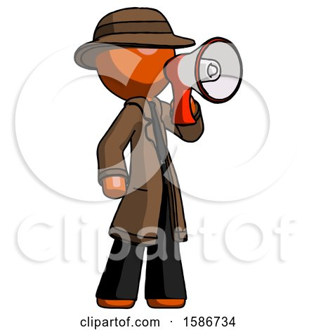 Orange Detective Man Shouting into Megaphone Bullhorn Facing Right by Leo Blanchette
