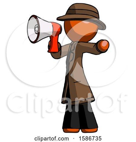 Orange Detective Man Shouting into Megaphone Bullhorn Facing Left by Leo Blanchette