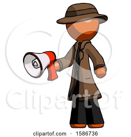 Orange Detective Man Holding Megaphone Bullhorn Facing Right by Leo Blanchette