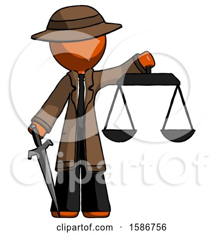 Orange Detective Man Justice Concept with Scales and Sword, Justicia Derived by Leo Blanchette