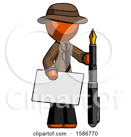 Orange Detective Man Holding Large Envelope and Calligraphy Pen by Leo Blanchette