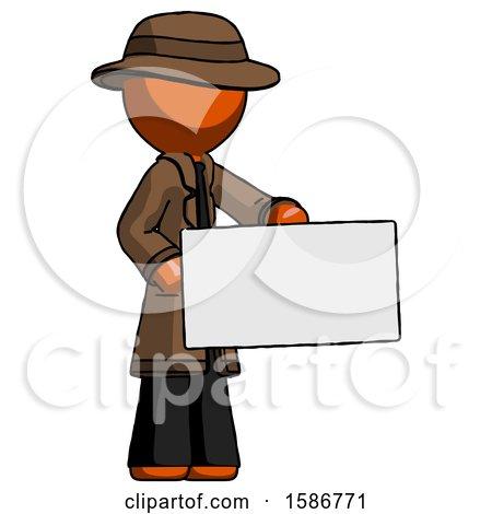 Orange Detective Man Presenting Large Envelope by Leo Blanchette