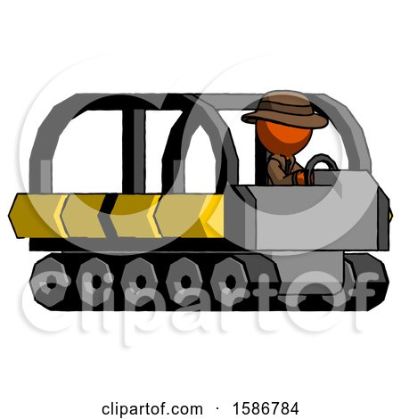 Orange Detective Man Driving Amphibious Tracked Vehicle Side Angle View by Leo Blanchette
