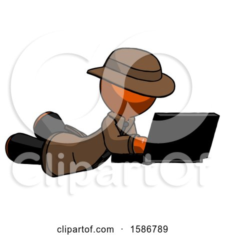 Orange Detective Man Using Laptop Computer While Lying on Floor Side Angled View by Leo Blanchette