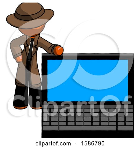 Orange Detective Man Beside Large Laptop Computer, Leaning Against It by Leo Blanchette