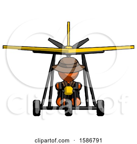 Orange Detective Man in Ultralight Aircraft Front View by Leo Blanchette