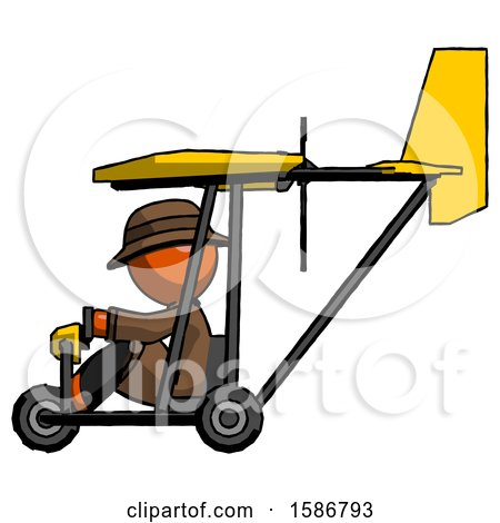 Orange Detective Man in Ultralight Aircraft Side View by Leo Blanchette