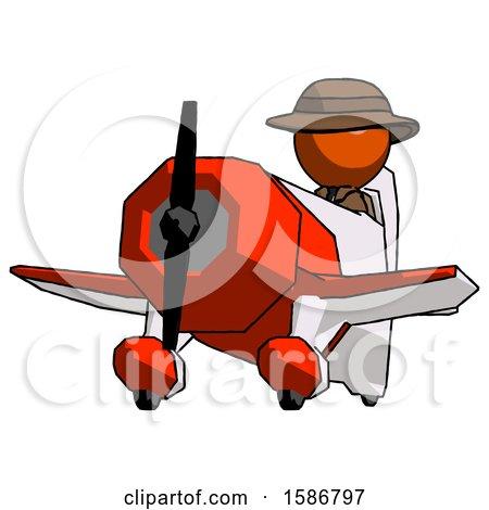 Orange Detective Man Flying in Geebee Stunt Plane Viewed from Below by Leo Blanchette