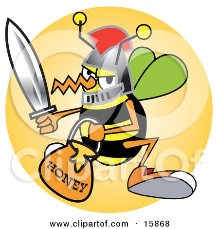 Bee In A Helmet, Holding A Sword And Carrying A Bucket Of Honey Posters, Art Prints